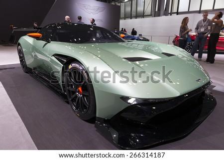 New York, NY - April 2, 2015: Exterior of Aston Martin Vulcan sport car on display at New York International Auto Show at Javits Center - stock photo