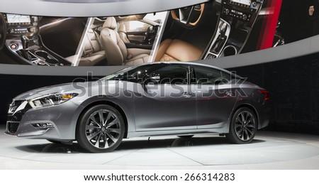 New York, NY - April 2, 2015: Exterior of Nissan Maxima car on display at New York International Auto Show at Javits Center - stock photo