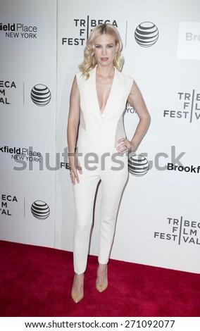New York, NY - April 19, 2015: January Jones attends Tribeca Film Festival premiere of Good Kill film at BMCC Tribeca Performing Arts Center - stock photo