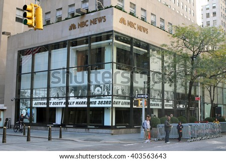 NEW YORK, NY-APRIL 10, 2016:  Rockefeller Center in midtown Manhattan is also known as the world headquarters for NBC News, the Saturday Night Live studios and the Today Show. - stock photo