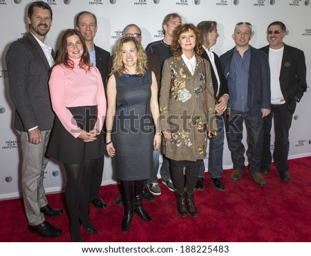 NEW YORK, NY - APRIL 19: T Morgan, H. Kiriakou, T Drake, J Radack, E Menasche, S Sarandon, J Butterworth, J Spione, D J. Chalfen and B Gellman attend  'Silenced' during the 2014 Tribeca Film Festival - stock photo