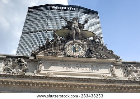 NEW YORK, NY - AUGUST 17, 2013: Grand Central Terminal with MetLife Building of New York in the background. Grand Central Terminal is a commuter rail terminal station at 42nd Street and Park Avenue. - stock photo