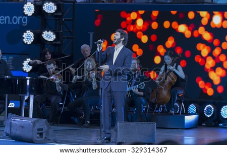 New York, NY - August 31, 2015: Josh Groban performs during Opening ceremony of US Open Championship at Arthur Ash stadium - stock photo