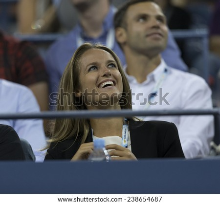 NEW YORK, NY - AUGUST 28: Kim Sears attends 2nd round match between Andy Murray of United Kingdom & Matthias Bachinger of Germany at US Open tennis tournament in Flushing Meadows USTA Tennis Center 2014 - stock photo