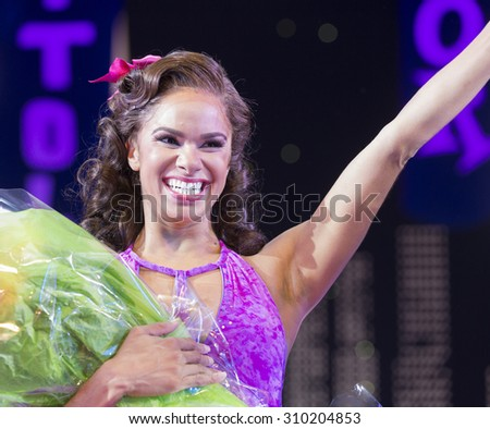 New York, NY - August 25, 2015: Misty Copeland as Ivy Smith/Miss Turnstyles debut performance in Broadway musical On The Town in Lyric Theatre - stock photo