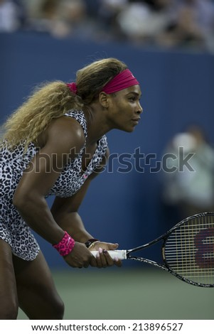 NEW YORK, NY - AUGUST 26: Serena Williams of USA returns ball during 1st round match against Taylor Townsend of USA at US Open tennis tournament in Flushing Meadows USTA Tennis Center - stock photo