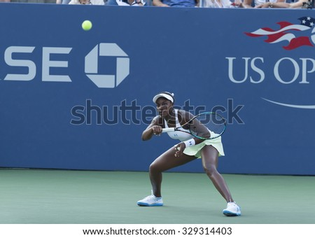 New York, NY - August 31, 2015: Sloane Stephens of USA returns ball during 1st round match against Coco Vandeweghe of USA  at US Open Championship  - stock photo