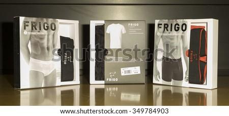 "New York, NY - December 10, 2015: Frigo men's underwear by RevolutionWear on display at Bloomingdale's SOHO during Curtis ""50 CENT"" Jackson presentation - stock photo"
