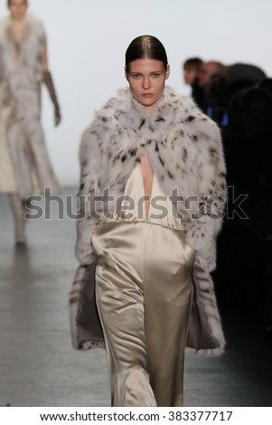 NEW YORK, NY - FEBRUARY 16: A model walks the runway wearing Dennis Basso Fall 2016 during New York Fashion Week on February 16, 2016 in NYC.  - stock photo