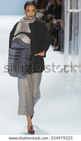 NEW YORK, NY - FEBRUARY 16, 2015: Aleah Morgan walks the runway at Carolina Herrera Fall 2015 Collection at The Salon at Lincoln Center - stock photo