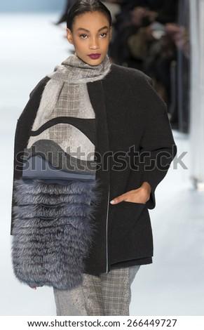 NEW YORK, NY - FEBRUARY 16, 2015: Aleah Morgan walks the runway at Carolina Herrera Fall 2015 Collection at The Theatre at Lincoln Center - stock photo