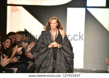 NEW YORK, NY - FEBRUARY 10: Designer Donna Karan  walks the runway at the DKNY Fall Winter 2013 fashion show during Mercedes-Benz Fashion Week on February 10, 2013, NYC. - stock photo