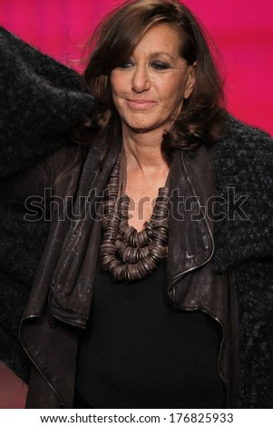 NEW YORK, NY - FEBRUARY 09: Designer Donna Karan walks the runway at the DKNY Women's fashion show during Mercedes-Benz Fashion Week Fall 2014 on February 9, 2014 in New York City. - stock photo