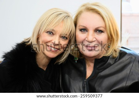 NEW YORK, NY - FEBRUARY 12: Designer Helen Yarmak (R) and guest during Helen Yarmak presentation during MBFW Fall 2015 at 730 Fifth Avenue on February 12, 2015 in NYC - stock photo