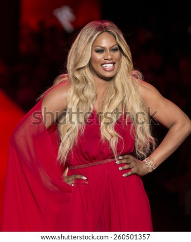 New York, NY - February 12, 2015: Laverne Cox in Donna Karan dress walks runway for Heart Truth Red Dress Collection 2015 fashion show as part of Fall 2015 Mercedez-Benz Fashion Week at Lincoln Center - stock photo