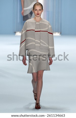 NEW YORK, NY - FEBRUARY 16: Model Aneta Pajak walks the runway wearing Carolina Herrera Fall 2015 Collection during MBFW at Lincoln Center on February 16, 2015 in NYC - stock photo