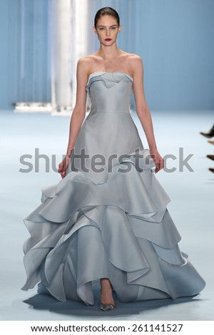 NEW YORK, NY - FEBRUARY 16: Model Auguste Abeliunaite walks the runway wearing Carolina Herrera Fall 2015 Collection during MBFW at Lincoln Center on February 16, 2015 in NYC - stock photo