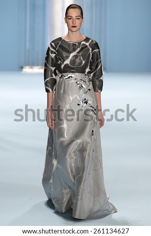 NEW YORK, NY - FEBRUARY 16: Model Josephine Le Tutour walks the runway wearing Carolina Herrera Fall 2015 Collection during MBFW at Lincoln Center on February 16, 2015 in NYC - stock photo