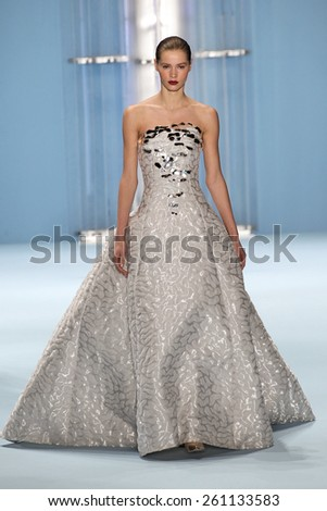 NEW YORK, NY - FEBRUARY 16: Model Kirstin Kragh Liljegren walks the runway wearing Carolina Herrera Fall 2015 Collection during MBFW at Lincoln Center on February 16, 2015 in NYC - stock photo