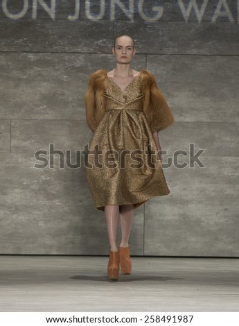 New York, NY - February 14, 2015: Model walks runway for collection by Son Jung Wan during Fall 2015 Fashion Week in Lincoln Center - stock photo