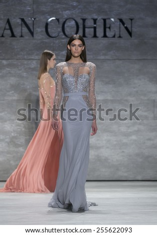 New York, NY - February 14, 2015: Model walks runway for Idan Cohen show at Fall 2015 Fashion Week at Lincoln Center - stock photo