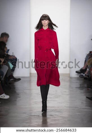 New York, NY - February 12, 2015: Model walks runway for Marissa Webb collection during Fashion Week Fall 2015 at Milk Studios - stock photo