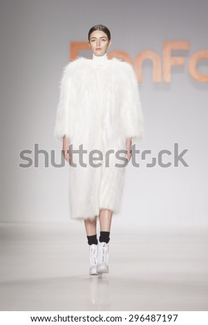 NEW YORK, NY - FEBRUARY 15: Model walks the runway for Ranfan Fashion Show Fall Winter 2015 Collection during Mercedes Benz Fashion Week 2015 at The Lincol Center on February 15, 2015 in NYC - stock photo