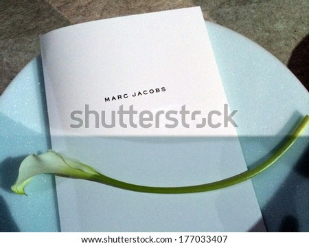NEW YORK, NY - FEBRUARY 13: Programm and flower on guest's seats at the Marc Jacobs fashion show during Mercedes-Benz Fashion Week Fall 2014 on February 13, 2014 in New York City. - stock photo
