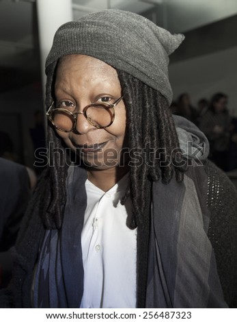 NEW YORK, NY - FEBRUARY 12, 2015: Whoopi Goldberg attends Marissa Webb show during MADE Fashion Week Fall 2015 at Milk Studios - stock photo