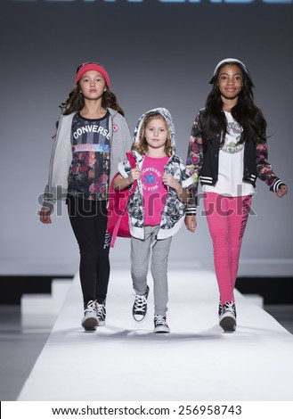 New York, NY - February 12,2015: Young models walk runway for Kids Rock Fashion show during Fall 2015 Fashion Week in Lincoln Center - stock photo
