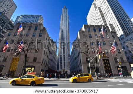 New York, NY - Jan 19, 2016: view of Rockefeller center from 5th avenue. The Rockefeller Center is a National Historic Landmark located in New York City.  - stock photo