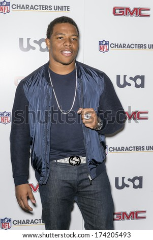 NEW YORK, NY - JANUARY 30, 2014: Ray Rice attends the 3rd Annual NFL Characters Unite at Sports Illustrated - stock photo