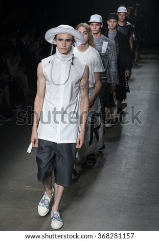 NEW YORK, NY - JULY 14, 2015: Liam Little walks the runway during the DBYD - Concept Korea show at New York Fashion Week Men's S/S 2016 at Skylight Clarkson Sq - stock photo