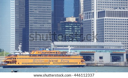 NEW YORK, NY - JUN 19: Staten Island Ferry returns to Manhattan, New York, as seen on Jun 19, 2016. The ferry carries over 21 million passengers a year. - stock photo