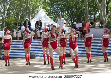 New York, NY - June 14, 2015: Dreamland Follies performe at 10th annual Jazz Age lawn party by Michael Arenella & Dreamland Orchestra on Governors Island - stock photo