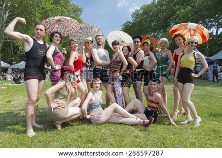 New York, NY - June 14, 2015: Participants display vintage swimsuits at 10th annual Jazz Age lawn party by Michael Arenella & Dreamland Orchestra on Governors Island - stock photo