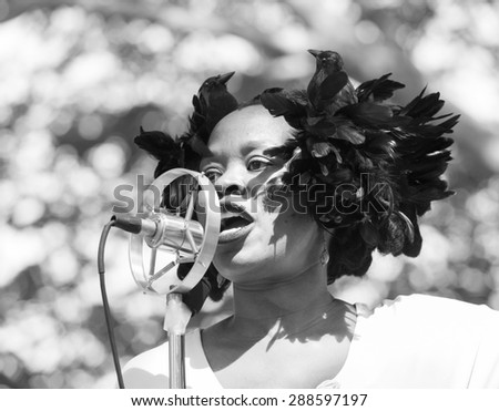 New York, NY - June 14, 2015: Queen Esther  performes at 10th annual Jazz Age lawn party by Michael Arenella & Dreamland Orchestra on Governors Island - stock photo