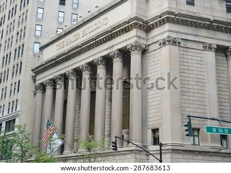 NEW YORK, NY -12 JUNE 2015- The Chinese appliance company Haier has set up its American corporate headquarters in the landmark former Greenwich Savings Bank building on Broadway and 36th Street. - stock photo