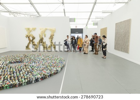 NEW YORK, NY - MAY 14, 2015: General atmosphere on first day of Frieze Art Fair on Randall's Island at booth by Lehmann Maupin gallery with Kader Attia installation Halam Tawaaf - stock photo
