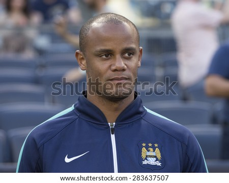 New York, NY - May 30, 2015: Manchester City FC Player Vincent Kompany attends game between New York City Football Club and Houston Dynamo at Yankee Stadium - stock photo