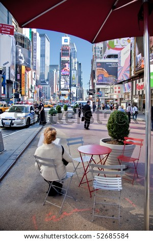 NEW YORK, NY - May 5: Police help secure a tranquil, quiet morning in Times Square a few days after the attempted car bombing. Image taken on May 5, 2010 in New York City. - stock photo