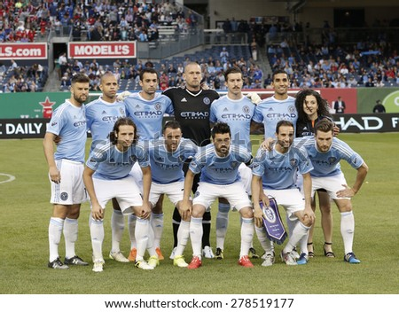 New York, NY - May 15, 2015: Team NYCFC poses before the game between New York City Football Club and Chicago Fire FC at Yankee Stadium - stock photo