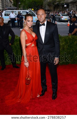 New York, NY  Monday May 04, 2015: Derek Jeter and Hannah Davis attend 'China: Through The Looking Glass' Costume Institute Gala, held at the Metropolitan Museum of Art in New York City, New York. - stock photo
