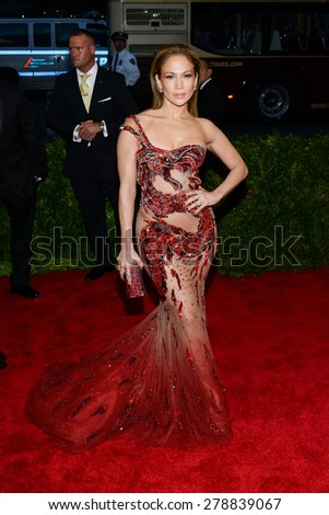 New York, NY  Monday May 04, 2015: Jennifer Lopez attends 'China: Through The Looking Glass' Costume Institute Gala, held at the Metropolitan Museum of Art in New York City, New York. - stock photo