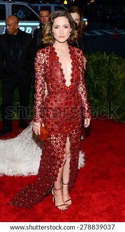 New York, NY  Monday May 04, 2015: Rose Byrne attends 'China: Through The Looking Glass' Costume Institute Gala, held at the Metropolitan Museum of Art in New York City, New York. - stock photo