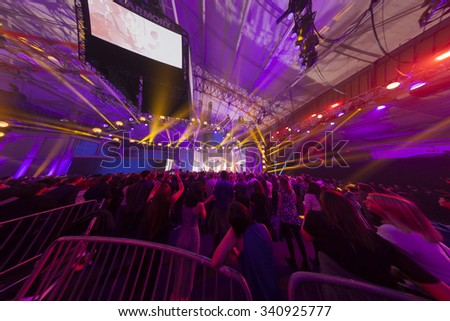 New York, NY - November 12, 2015: Atmosphere during VH1 Big Music In 2015: You Oughta Know concert at the Armory Foundation - stock photo