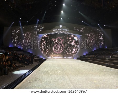 NEW YORK, NY - NOVEMBER 12: General view of stage runway during the 2013 Victoria's Secret Fashion Show rehearsal at the Lexington Avenue Armory on November 12, 2013 in New York City. - stock photo