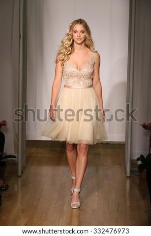 NEW YORK, NY - OCTOBER 11: A model walks at Mori Lee Bridals Fall/Winter 2016 Runway Show at The Metropolitan pavilion on October 11, 2015 in NYC. - stock photo