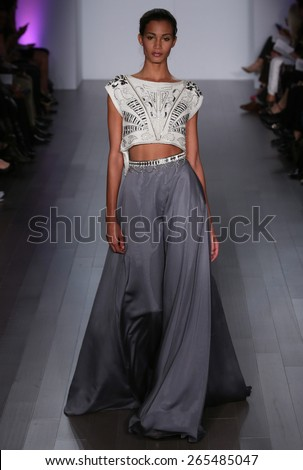 NEW YORK, NY - OCTOBER 10: A model walks runway at Hayley Paige fashion show during Fall 2015 Bridal Collection on October 10, 2014 in NYC.  - stock photo
