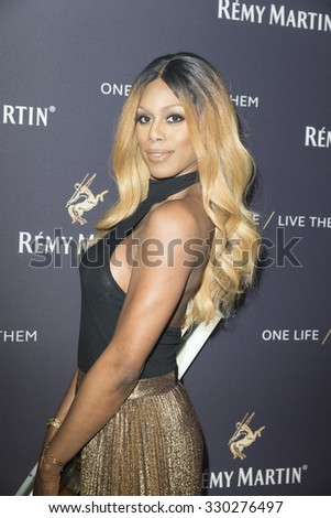New York, NY - October 20, 2015: Laverne Cox attends the The House Of Remy Martin One Life/Live Them Launch Event With Jeremy Renner at ArtBeam - stock photo